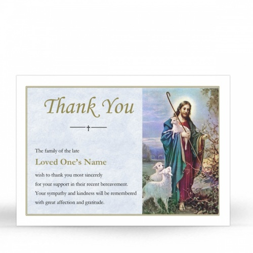 Jesus The Shepherd Religious Catholic Funeral Acknowledgement Card - JC08