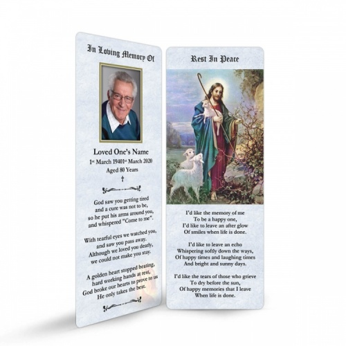 Jesus The Shepherd Religious Catholic Funeral Bookmark - JC08