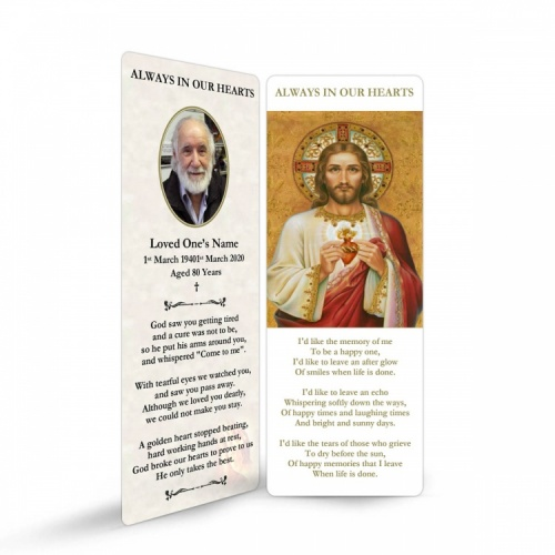 Sacred Heart Of Jesus Religious Catholic Funeral In Memorium Bookmark - JC09