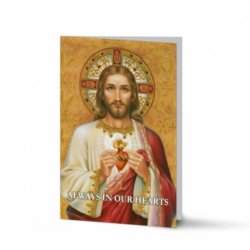 Sacred Heart Of Jesus Religious Catholic Funeral In Memorium Cards - JC09