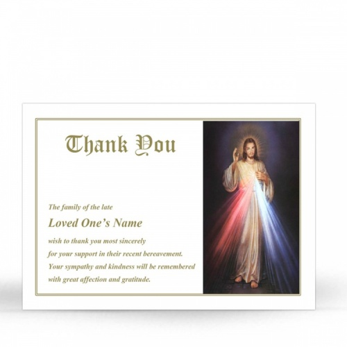 Jesus Divine Mercy Catholic Personalised Memorial Prayer Acknowledgement Card - JC13