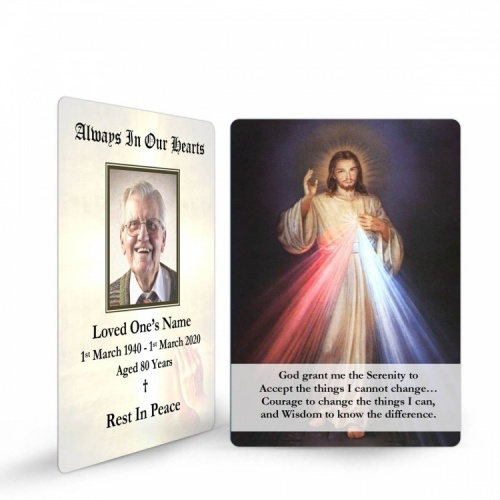 Jesus Divine Mercy Catholic Personalised Memorial Prayer Laminated Wallet Card - JC13