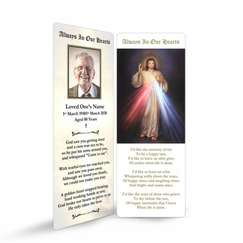 Jesus Divine Mercy Catholic Personalised Laminated Memorial Prayer Bookmark - JC13
