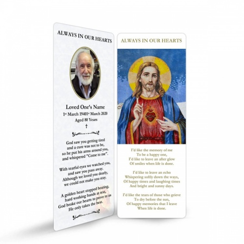 Sacred Heart Of Jesus Custom Memorial Prayer Laminated Bookmark - JC16