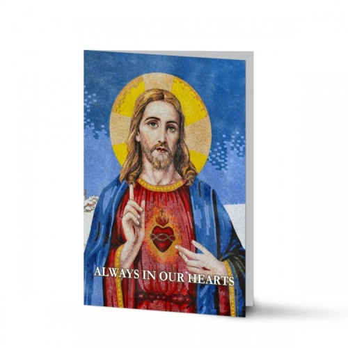 Sacred Heart Of Jesus Custom Laminated Folding Memorial Prayer Card - JC16