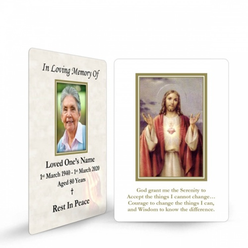 Sacred Heart Of Jesus Christ Laminated Catholic Irish Prayer Wallet cards - JC24