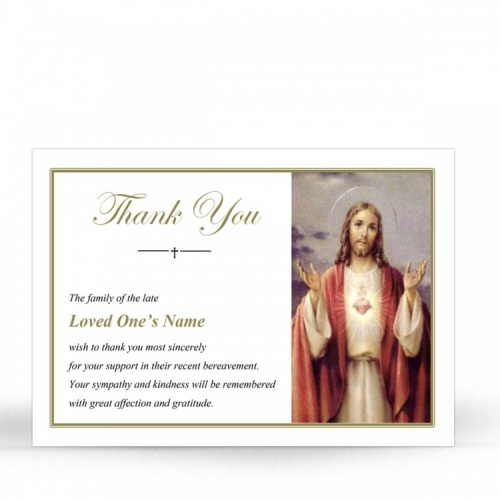 Sacred Heart Of Jesus Christ Laminated Catholic Irish Thank You Cards - JC24