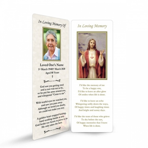 Sacred Heart Of Jesus Christ Laminated Catholic Irish Memorial Prayer Bookmarks - JC24