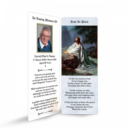 Jesus Christ Kneeling To God In Remembrance Laminated Memorial Prayer Bookmarks Catholic - JC26