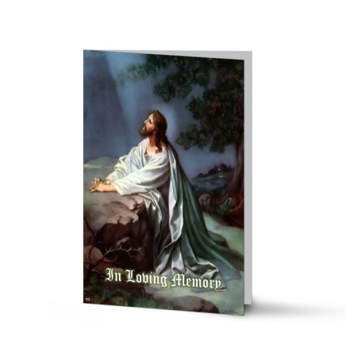 Jesus Christ Kneeling To God In Remembrance Laminated Memorial Prayer Cards Catholic - JC26