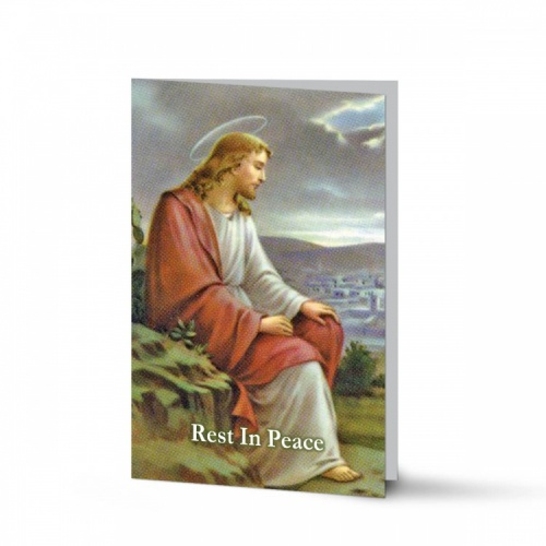 Jesus Christ Taking Rest In Memorium Laminated Memorial Prayer Cards Catholic - JC38