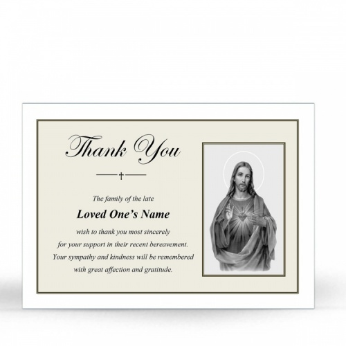 Sacred Heart Of Jesus Religious Catholic Personalised Photo Memorial Prayer Acknowledgement Card - JC39