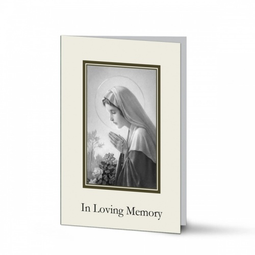 Praying Virgin Mary In Remembrance Laminated Irish Memorial Cards UK - MAR44