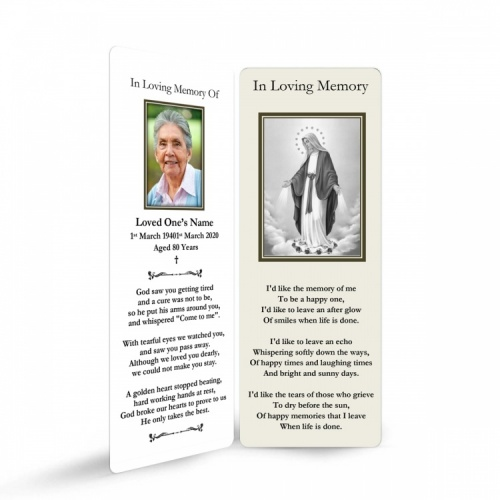 Blessed Virgin Mary Immaculate Conception Funeral Memorial Laminated Bookmark - MAR45