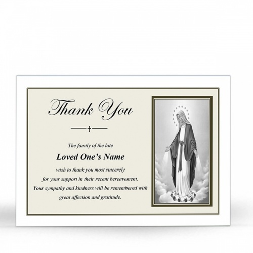 Blessed Virgin Mary Immaculate Conception Funeral Memorial Acknowledgement Card - MAR45