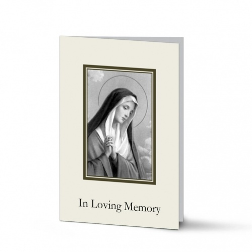 Blessed Virgin Mary Religious Catholic Irish In Memory Laminated Folding Memorial Card - MAR47