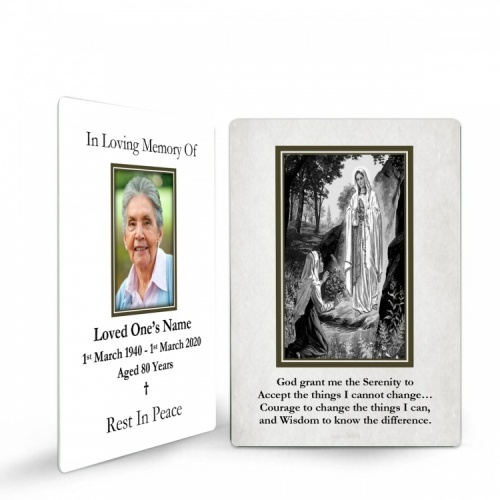 Our Blessed Lady Of Lourdes Catholic Irish Customised Memorial Holy Prayer Cards Laminated- MAR51