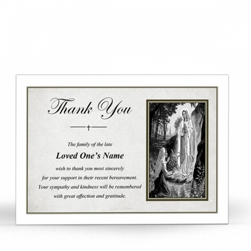 Our Blessed Lady Of Lourdes Catholic Irish Customised Funeral Thank You Cards - MAR51