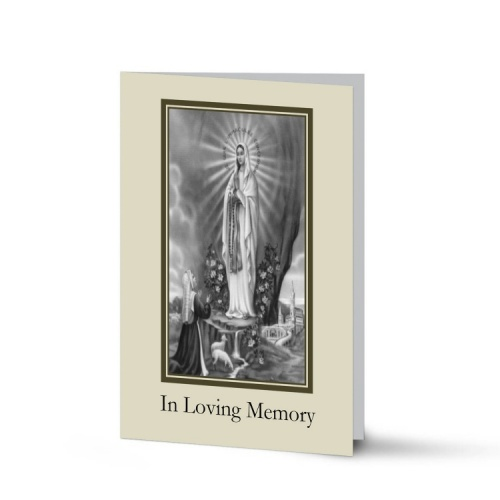 Our Blessed Lady Of Lourdes Catholic Irish Personalised Memorial Cards Laminated- MAR51