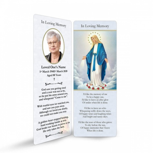 Blessed Virgin Mary Immaculate Conception Catholic Memorial Laminated Bookmark - MAR01