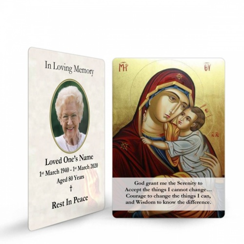 Blessed Virgin Mary & Jesus Catholic Memorial Laminated Prayer Wallet Card - MAR02