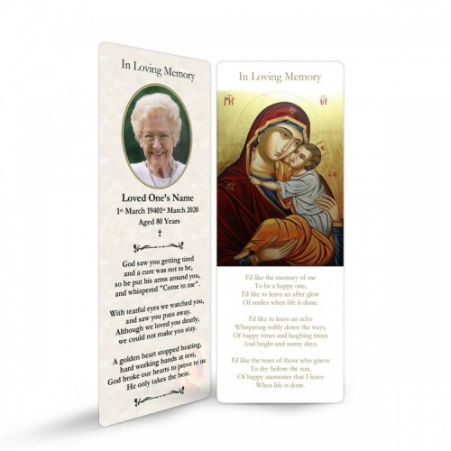 Blessed Virgin Mary & Jesus Catholic Memorial Laminated Bookmark - MAR02