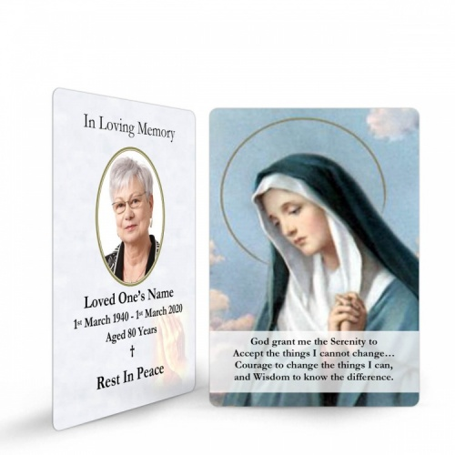 Blessed Virgin Mary Religious Catholic In Memoriam Laminated Prayer Wallet Card - MAR03