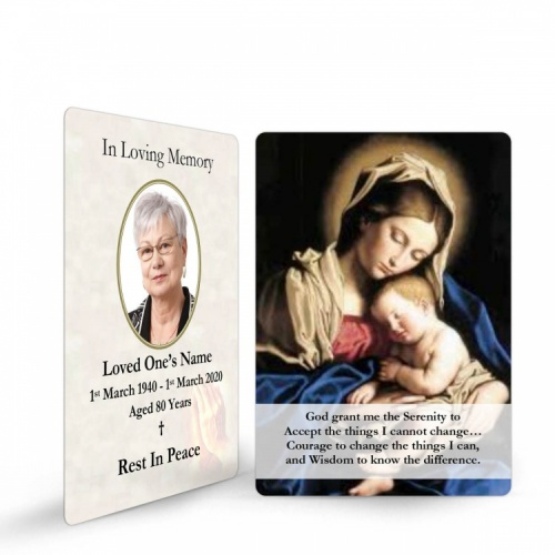Blessed Virgin Mary & Jesus Catholic In Loving Memory Memorial Laminated Wallet Card - MAR04