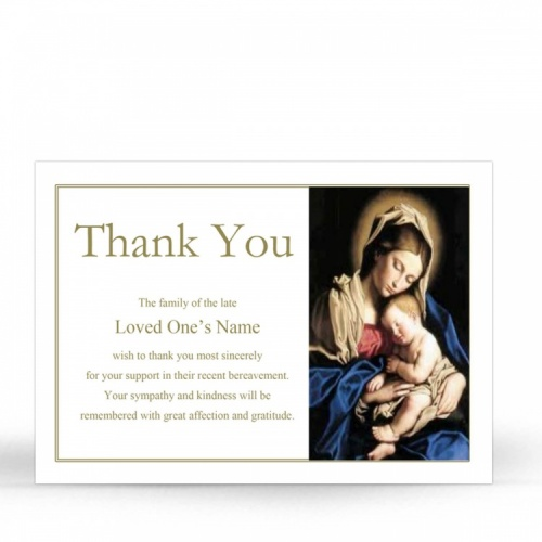Blessed Virgin Mary & Jesus Catholic In Loving Memory Memorial Acknowledgement Card - MAR04