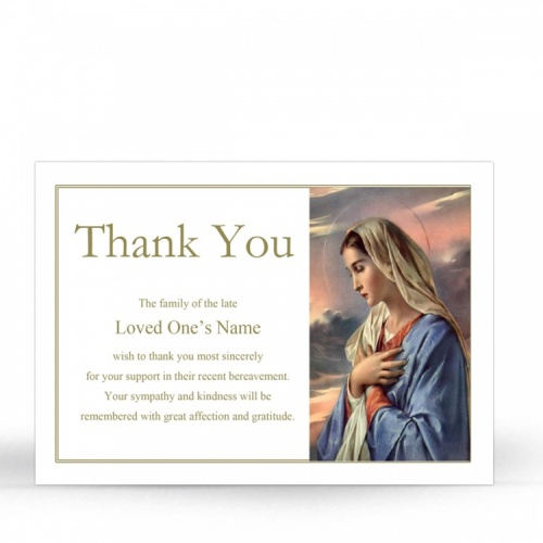 Our Lady Blessed Virgin Mary Religious Catholic In Memory Acknowledgement Card - MAR06