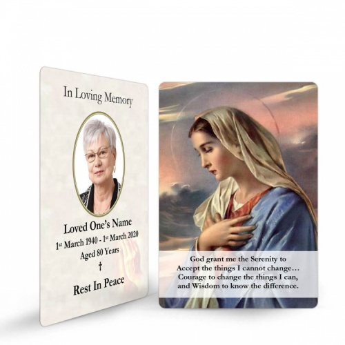 Our Lady Blessed Virgin Mary Religious Catholic In Memory Laminated Prayer Wallet Card - MAR06