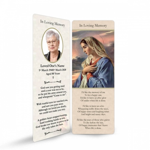 Our Lady Blessed Virgin Mary Religious Catholic In Memory Bookmark - MAR06