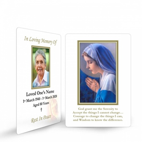 Religious Praying Virgin Mary In Remembrance Laminated Irish Memorial Wallet Cards UK - MAR10