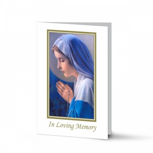 Religious Praying Virgin Mary In Remembrance Laminated Irish Memorial Cards UK - MAR10