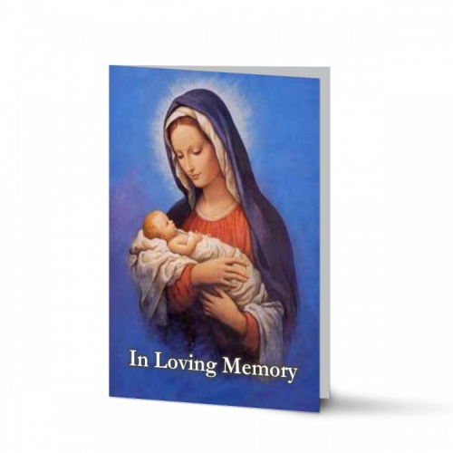 Blessed Virgin Mary & Jesus Religious Catholic Memorial Funeral Folding Memorial Card - MAR11