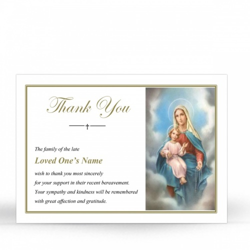 Blessed Virgin Mary & Jesus Catholic Personalised Memorial Acknowledgement Card - MAR13