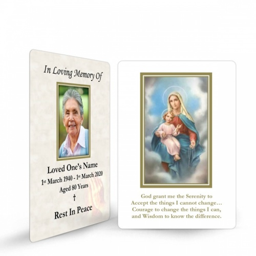 Blessed Virgin Mary & Jesus Catholic Personalised Memorial Laminated Wallet Card - MAR13