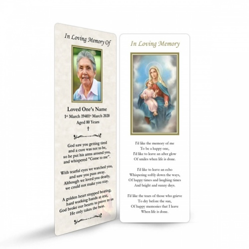 Blessed Virgin Mary & Jesus Catholic Personalised Laminated Memorial Bookmark - MAR13