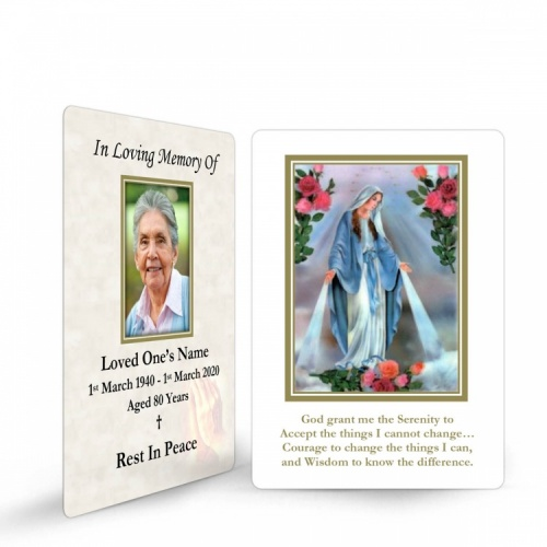 Blessed Virgin Mary Immaculate Conception Online Memorial Laminated Prayer Wallet Card - MAR14