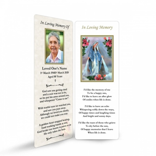 Blessed Virgin Mary Immaculate Conception Online Memorial Laminated Bookmark - MAR14