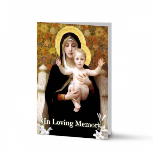 Blessed Virgin Mary & Jesus Catholic In Loving Memory Customised Folded Memorial Card - MAR15