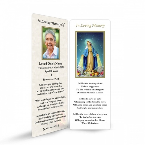 Virgin Mary Immaculate Conception Custom Memorial Laminated Bookmark - MAR16