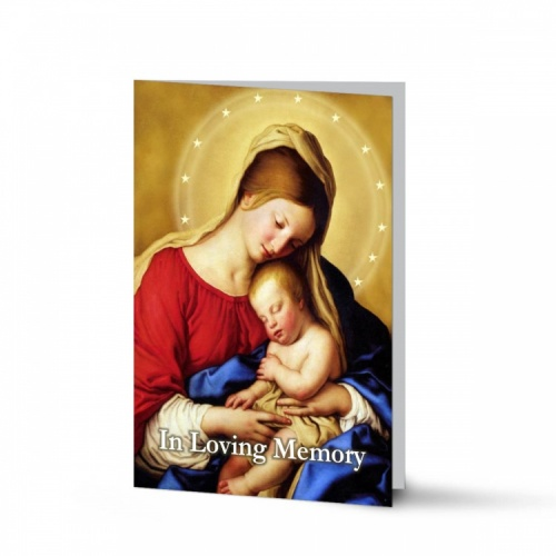 Blessed Virgin Mary & Jesus Traditional Irish Personalised Laminated Folded Memorial Card - MAR17