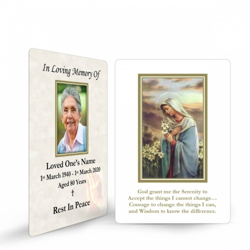 Religious Praying Virgin Mary In Remembrance Laminated Memorial Wallet Cards Catholic - MAR19