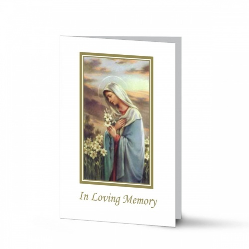 Religious Praying Virgin Mary In Remembrance Laminated Memorial Cards Catholic - MAR19
