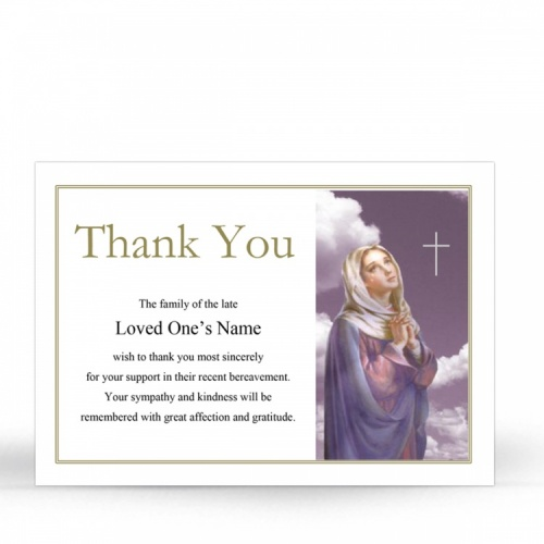 Our Lady Blessed Virgin Mary Religious Catholic Personalised Photo Memorial Acknowledgement Card - MAR22