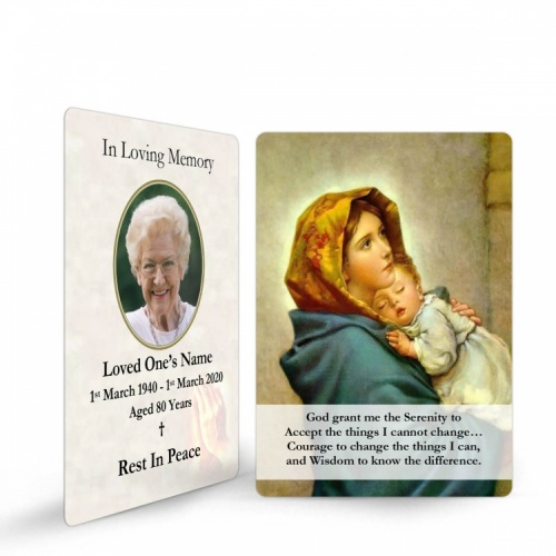Baby Jesus Mary Traditional Irish Personalised Memorial Laminated Wallet Card - MAR25