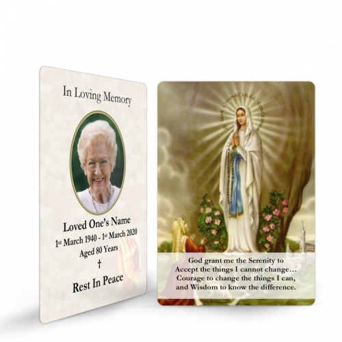 Our Blessed Lady Of Lourdes Catholic Irish Personalised Memorial Holy Prayer Cards Laminated- MAR43