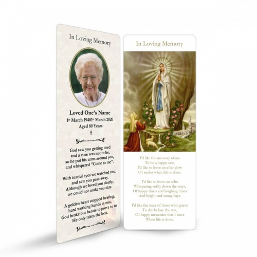 Our Blessed Lady Of Lourdes Catholic Irish Personalised Memorial Bookmarks Laminated - MAR43