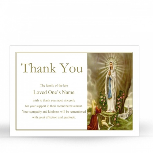 Our Blessed Lady Of Lourdes Catholic Irish Personalised Funeral Thank You Cards - MAR43